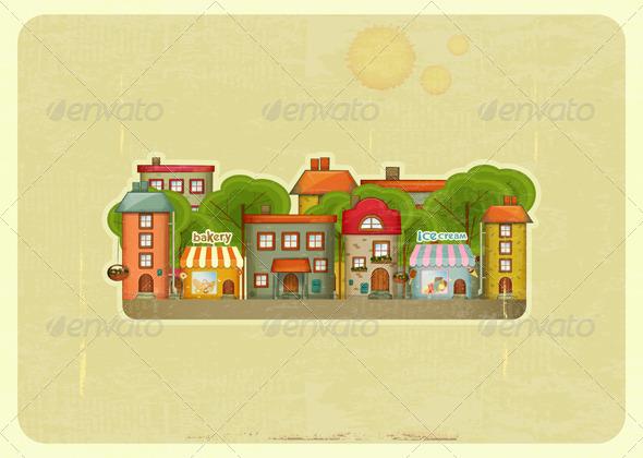 GraphicRiver Little Town Retro Background 4500659