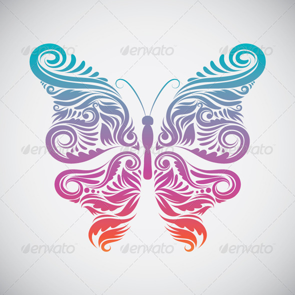 GraphicRiver Decorative Butterfly Rainbow 4500834