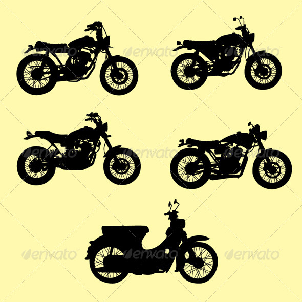 GraphicRiver Motorcycle Silhouette Vector Set 4500902