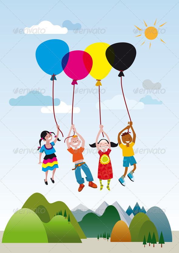 GraphicRiver Children Playing with Balloons 4501302