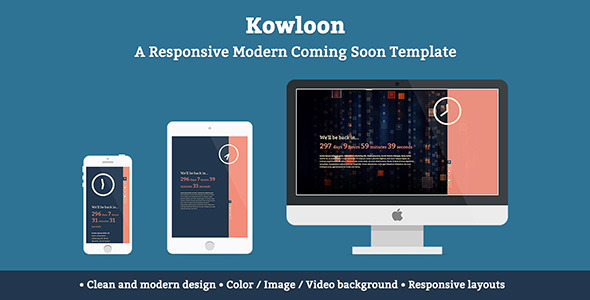 ThemeForest Kowloon A Responsive Modern Coming Soon Template 4501307