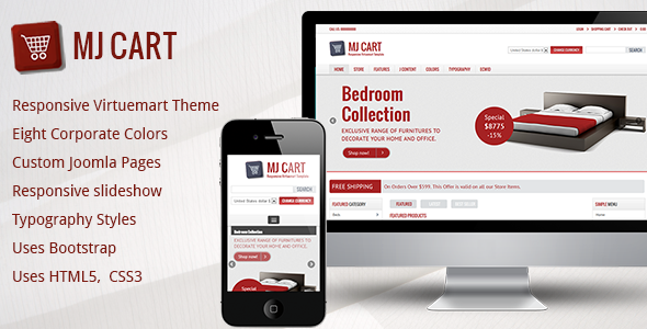 01 Preview image.  large preview Mj Cart   Responsive Virtuemart Template