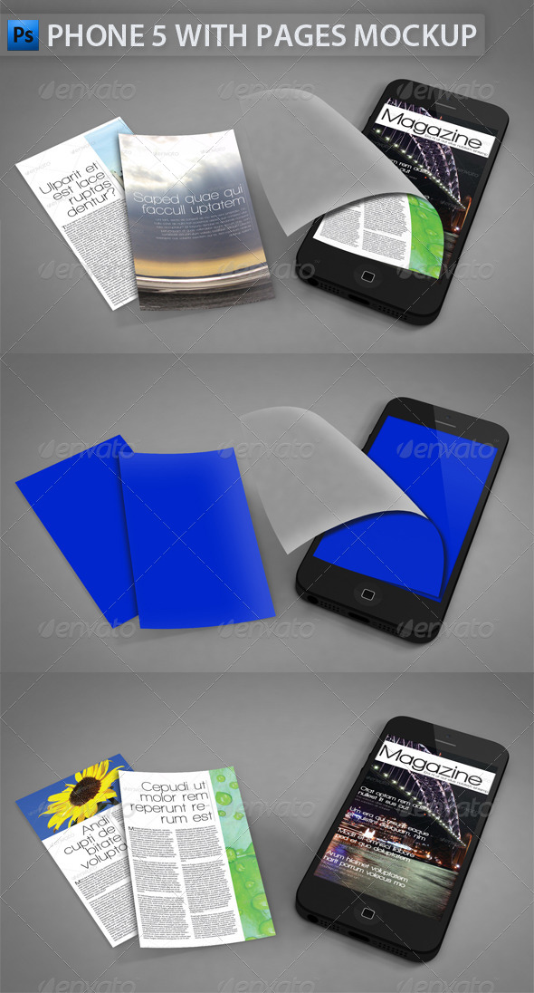 Phone 5 with Pages Mockup - Mobile Displays