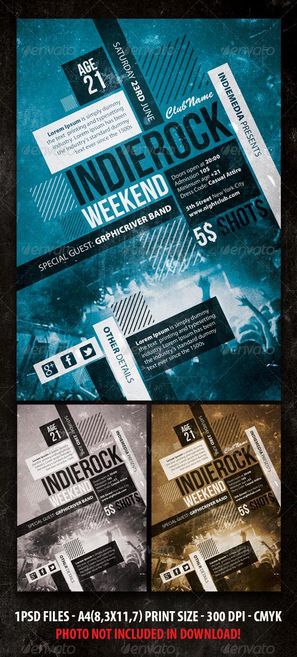 Indie Rock Vintage Concert Party Flyer Poster