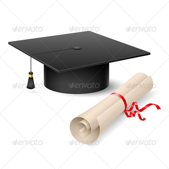 GraphicRiver Graduation Cap and Diploma 4503298