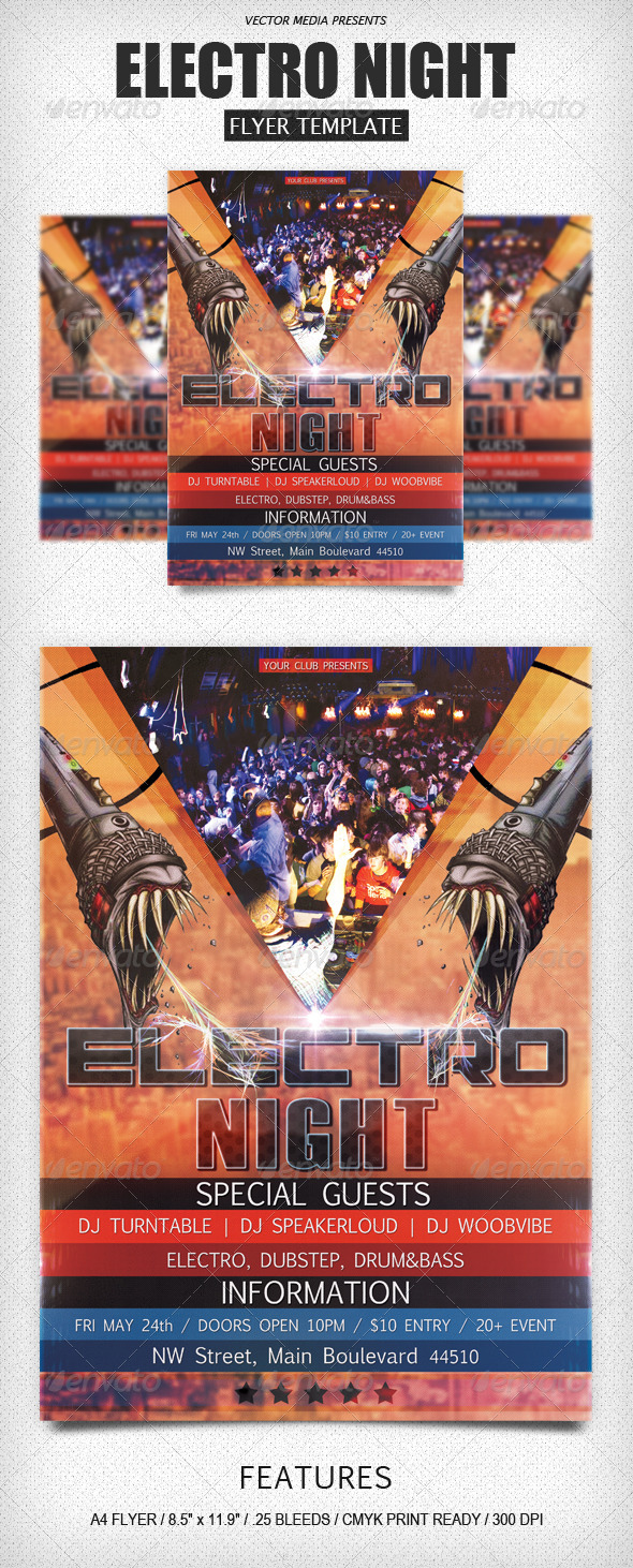 GraphicRiver Electro Night Flyer 4503430