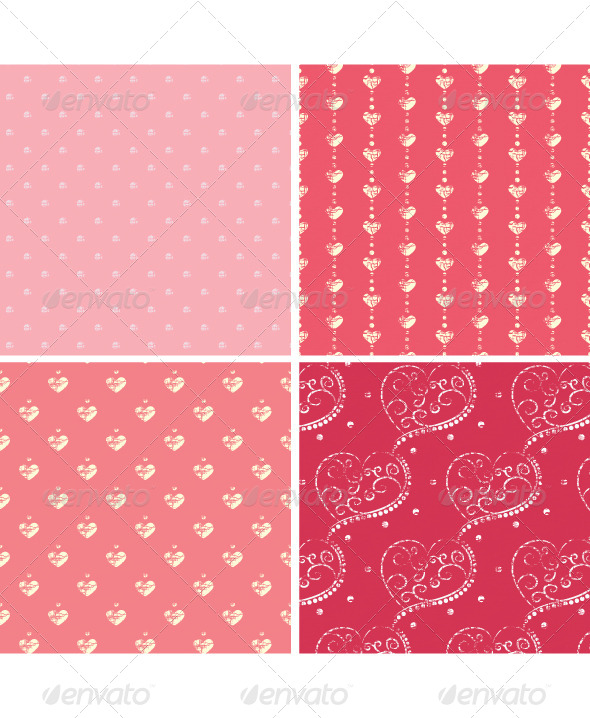 GraphicRiver Retro Heart Seamless Set 4504831