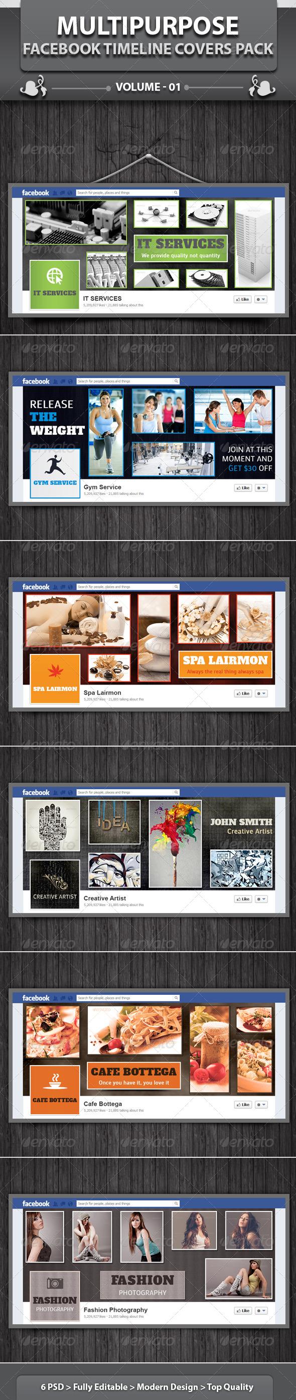 GraphicRiver Multipurpose Facebook Timeline Covers Pack v1 4505459