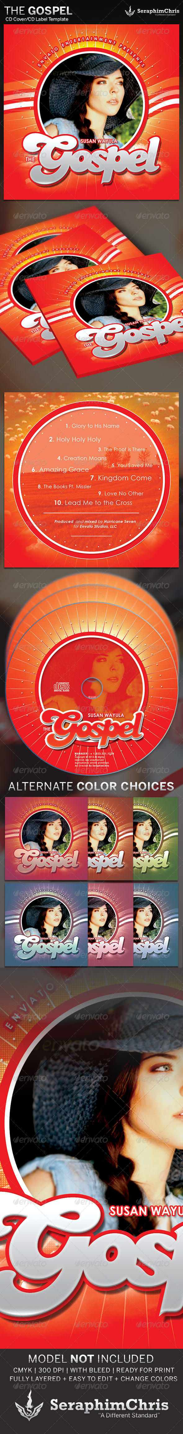 The Gospel: CD Cover Artwork Template - CD & DVD artwork Print Templates