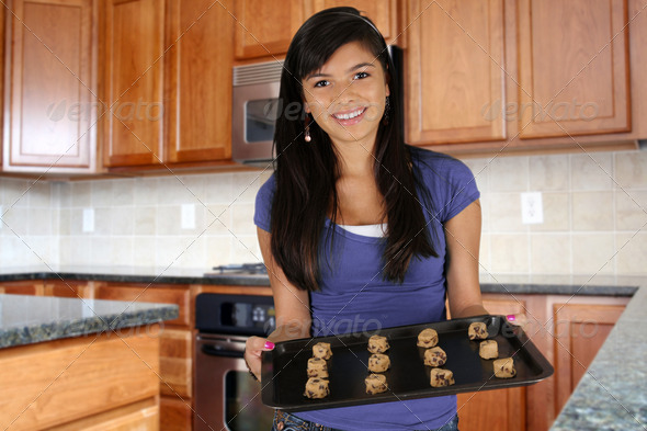 Girl Baking Cookies - Stock Photo - Images