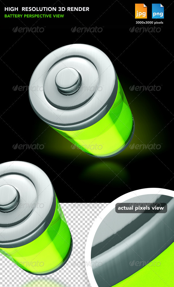 Battery Perspective View - Objects 3D Renders