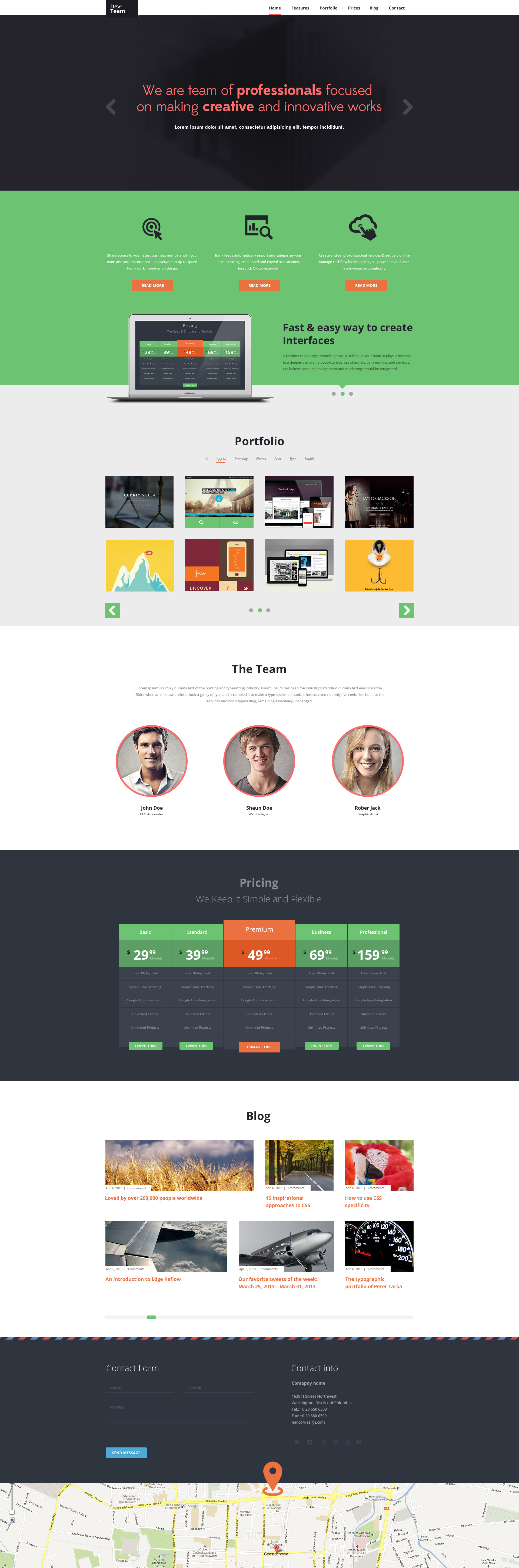 DevTeam - One Page PSD