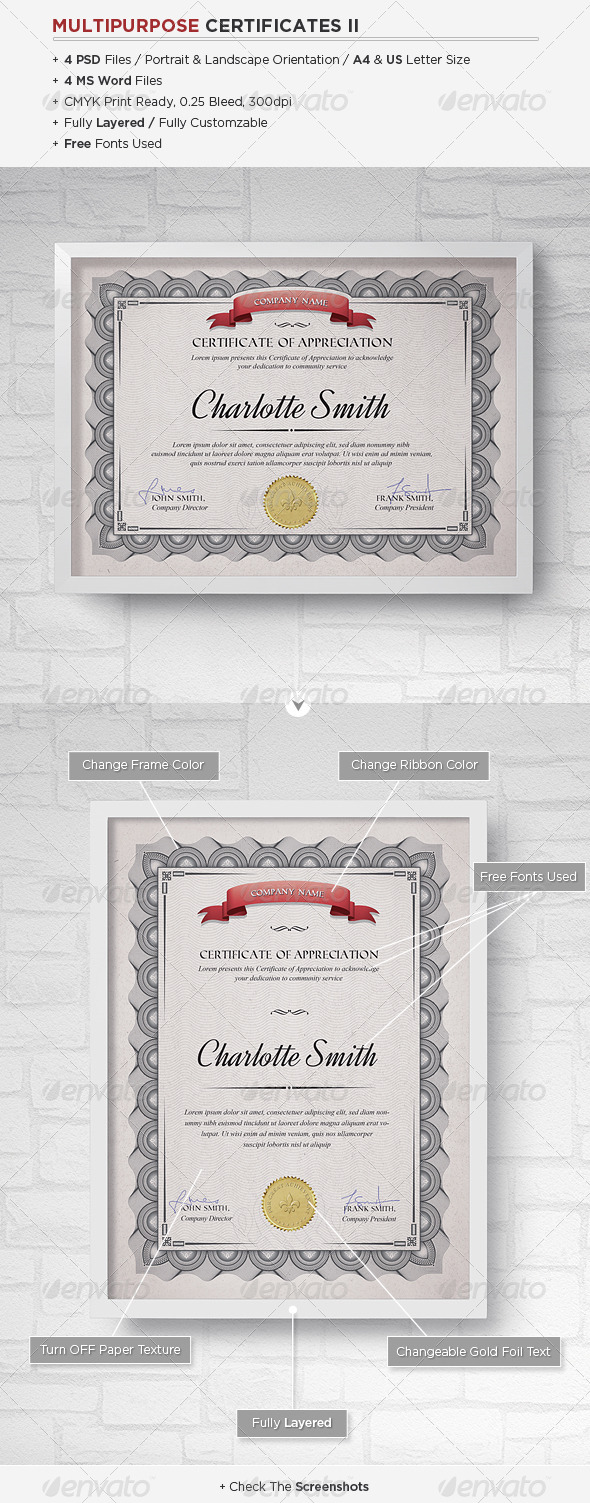 Multipurpose Certificates II - Certificates Stationery
