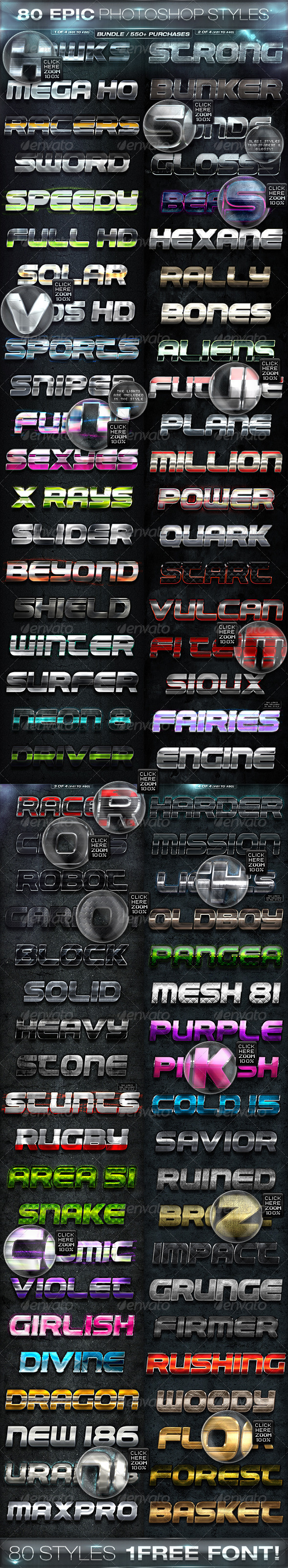 80 EPIC PHOTOSHOP STYLES [BUNDLE] - Text Effects Styles