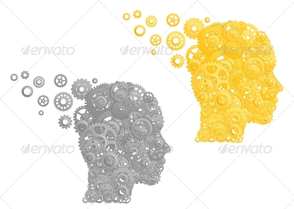 GraphicRiver Human Head with Gears and Pinions 4508774