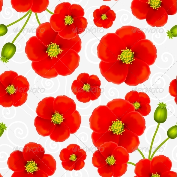 GraphicRiver Red Poppy Flowers Vector Seamless Pattern 4508811
