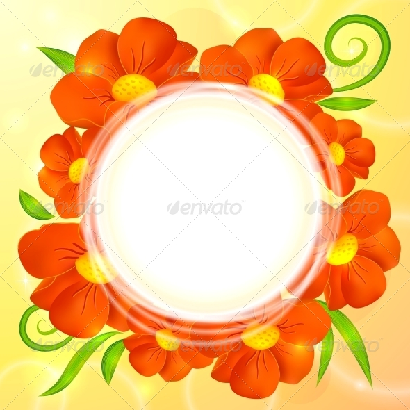 GraphicRiver Orange Realistic Flowers Vector Round Background 4508813
