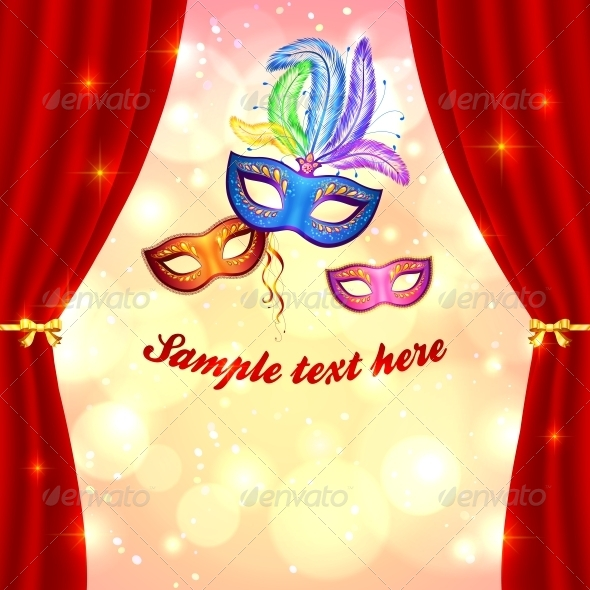 GraphicRiver Carnival Poster Template with Masks and Curtain 4508846