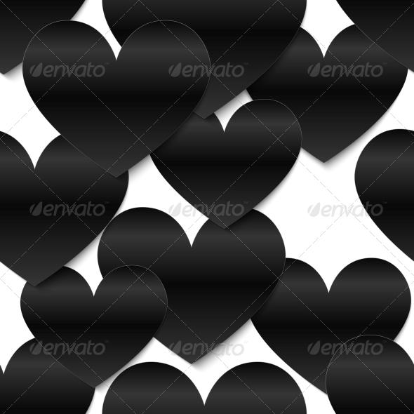 GraphicRiver Black Glossy Vector Paper Hearts 4508853