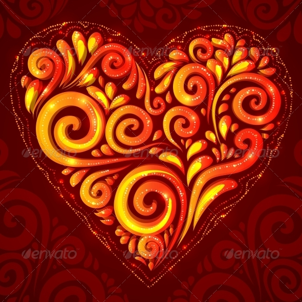 GraphicRiver Red Vector Shining Heart on Ornate Background 4508859