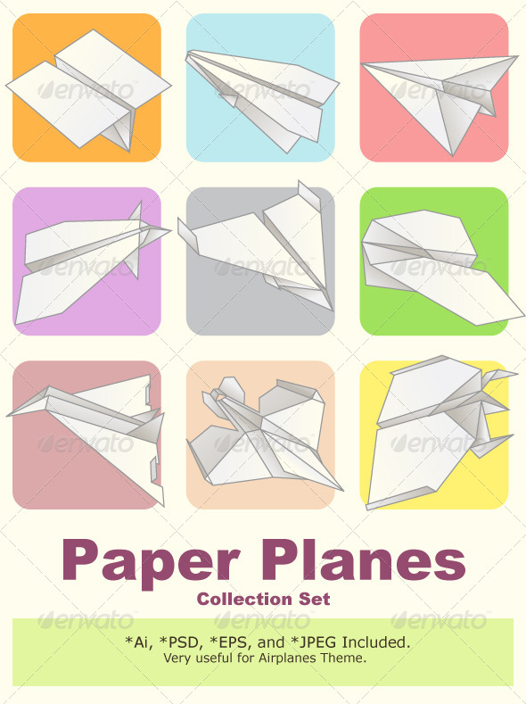 GraphicRiver Paper Plane Model Collection Set 4448854