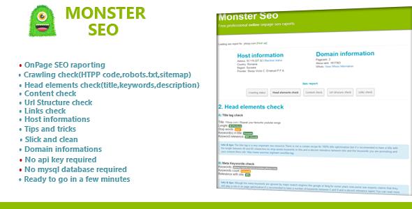 CodeCanyon SeoMonster OnPage SEO Raporting Sript 4508909