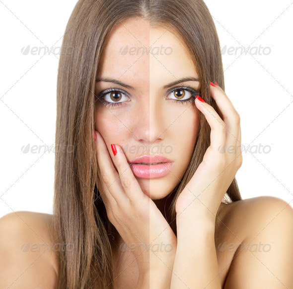 Female face before and after retouch - Stock Photo - Images