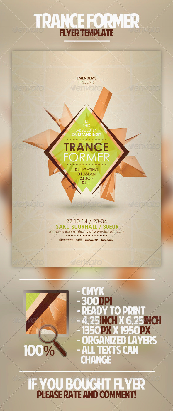 Trance Former Flyer Template - Clubs & Parties Events