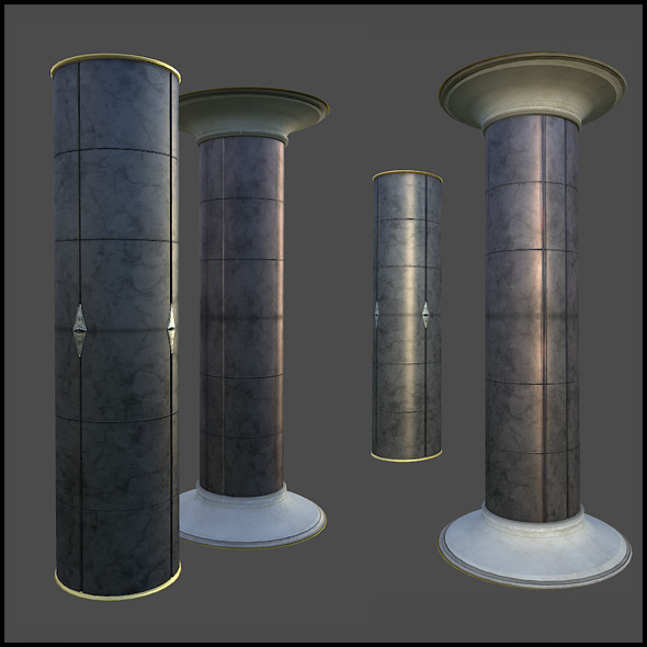 Thick Marble Pillar - 3DOcean Item for Sale