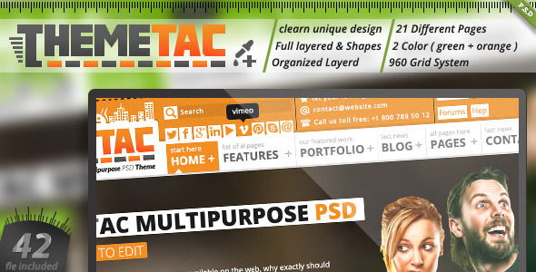 ThemeTac - Multipurpose PSD Theme