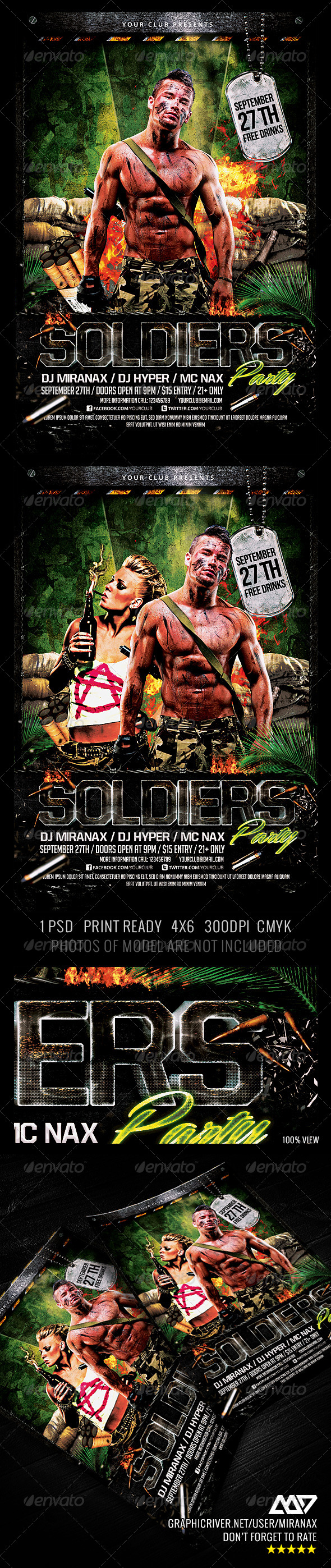 GraphicRiver Soldiers Army Military Party Flyer Template 4423332