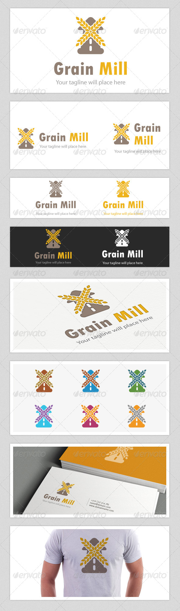 Grain Mill Logo - Food Logo Templates