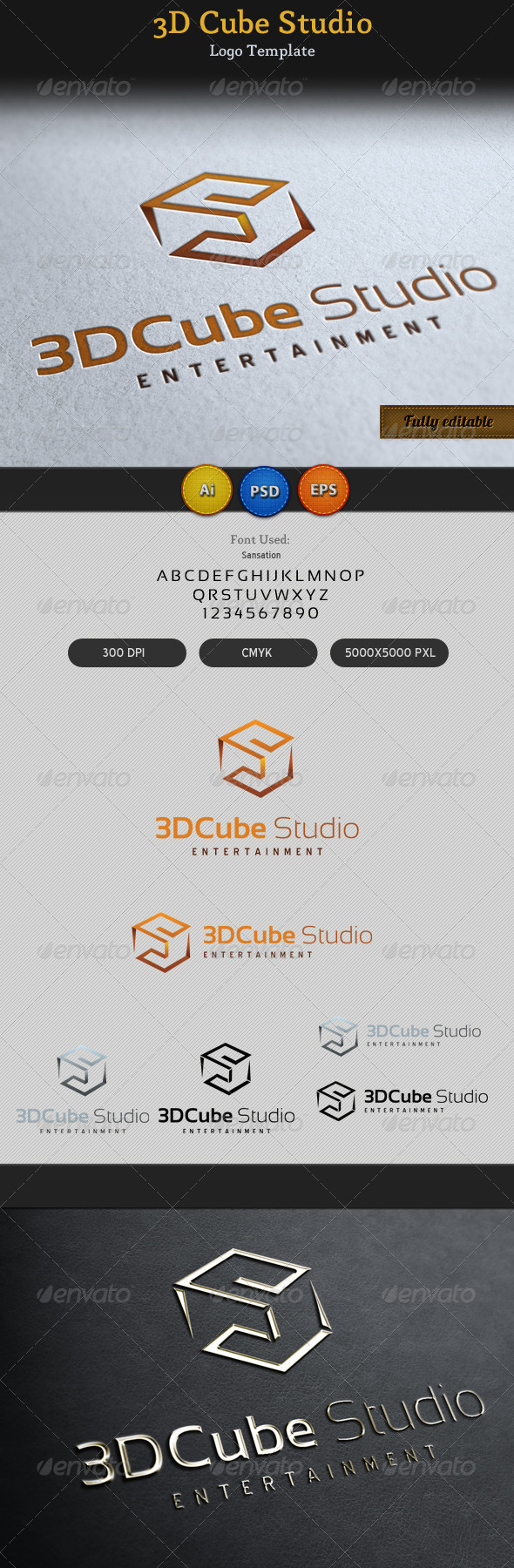 GraphicRiver 3D Cube Studio Entertainment Media Logo 4511521