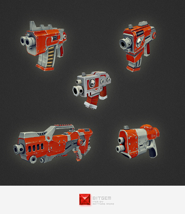Low Poly Gun Set 01 - 3DOcean Item for Sale