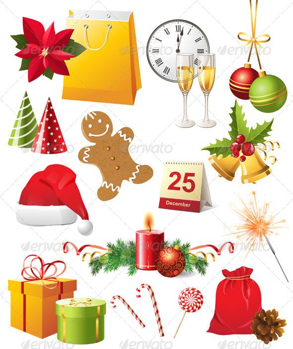 GraphicRiver Christmas Icons Set 4512421