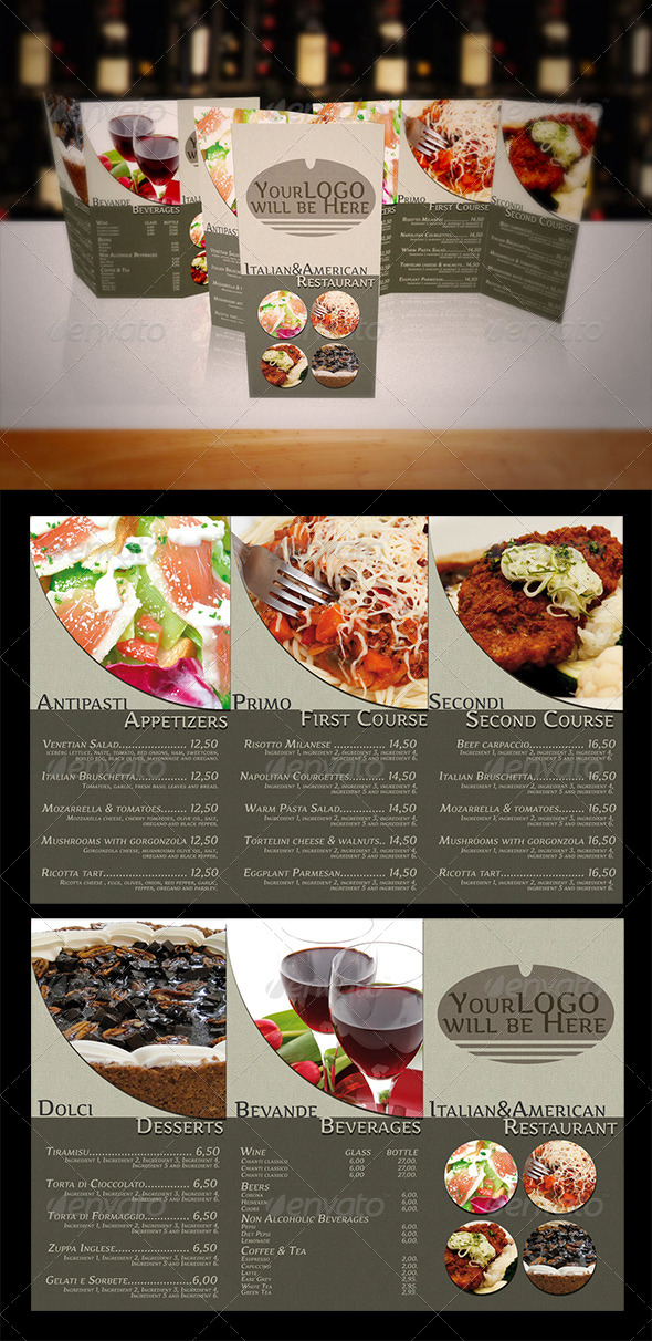 GraphicRiver Italian-American Food Menu Trifold Brochure 4424031