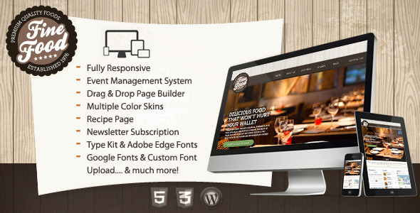 ThemeForest Fine Food Restaurant Responsive WordPress Theme 4443941