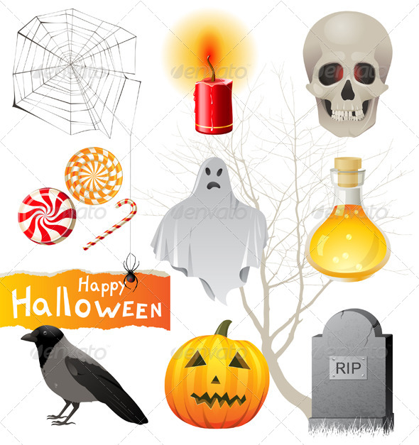 GraphicRiver Halloween Icons Set 4513090