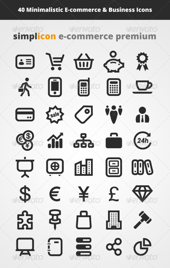 GraphicRiver 40 Minimalistic E-commerce & Business Icons 4513092