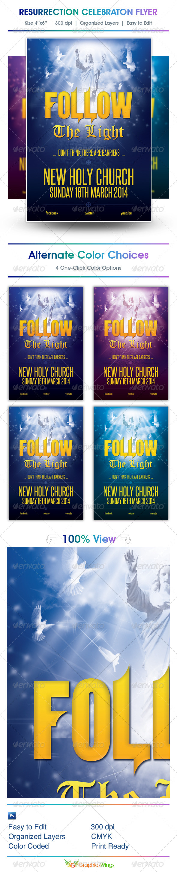Follow The Light Church Flyer Template - Church Flyers