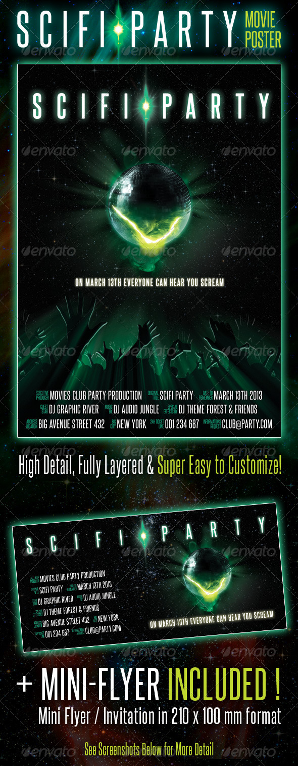 GraphicRiver Scifi Party Movie Poster 4357082
