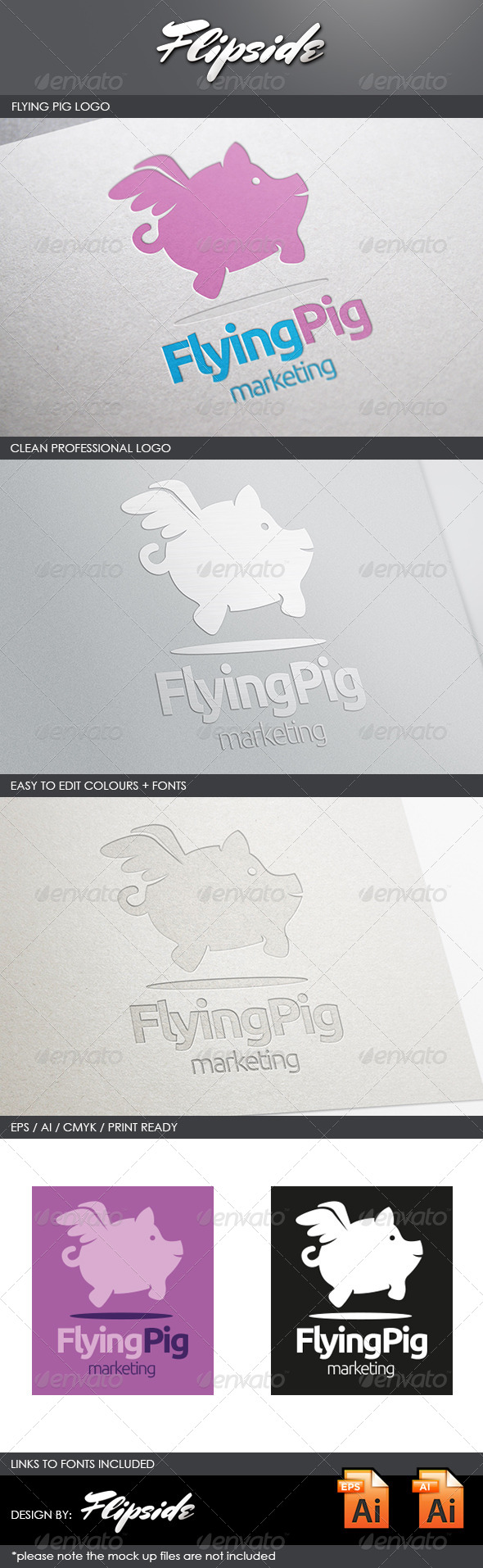 GraphicRiver Flying Pig Logo 4456041