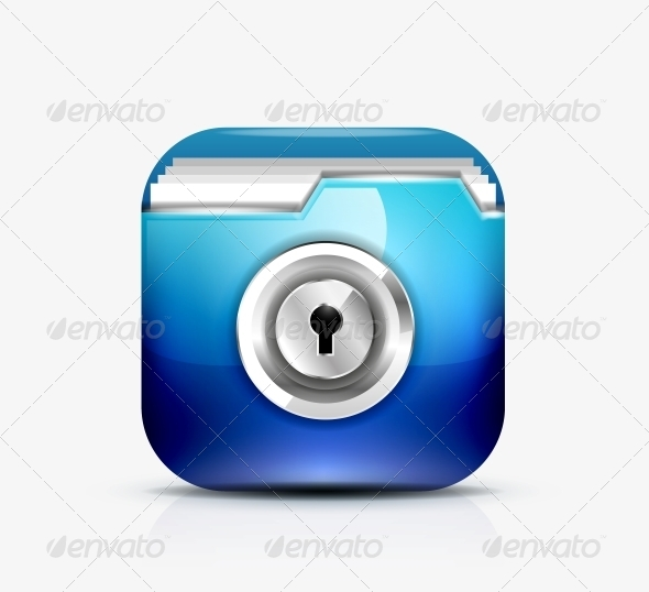 GraphicRiver Locked Folder Icon Folder Protection Concept 4514124