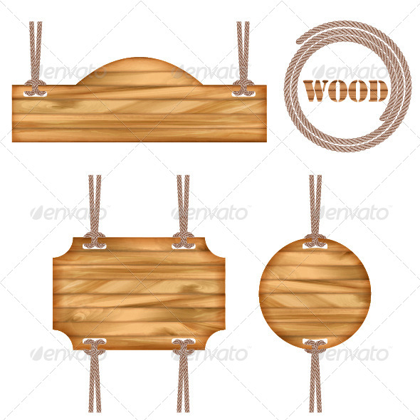 GraphicRiver Wood Vector Frame Rope Design 4514267