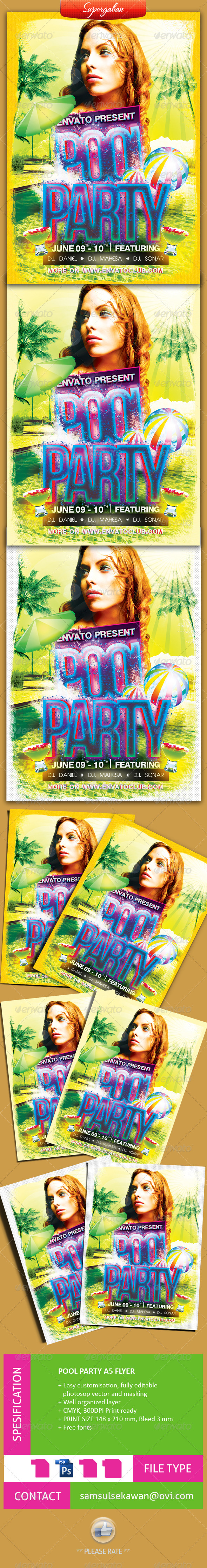 GraphicRiver Pool Party A5 Flyer 4514275