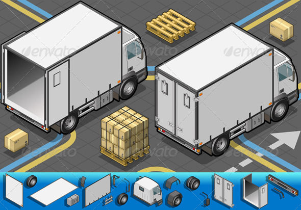GraphicRiver Isometric Container Refrigerator Truck 4514287