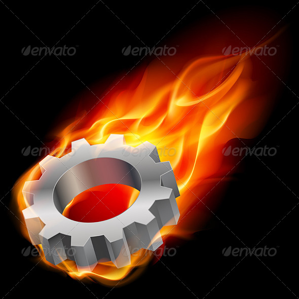 GraphicRiver Gearwheel in Fire 4514414