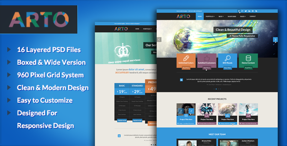 Arto - PSD Template - Corporate PSD Templates