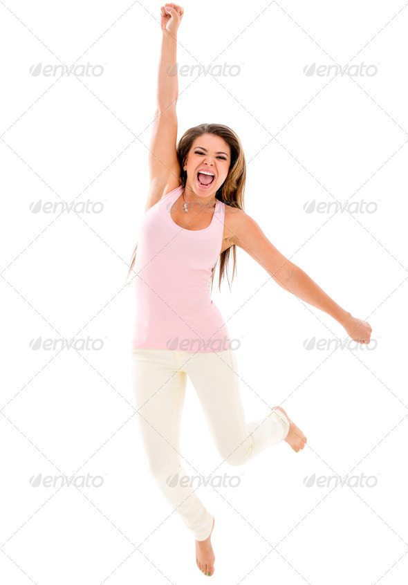 Excited woman jumping - Stock Photo - Images