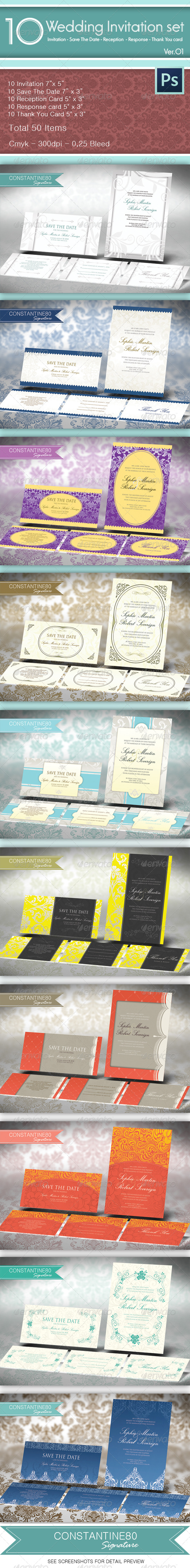 GraphicRiver 10 Wedding Invitations Sets 4514915